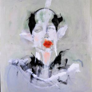 Just lipstick 2020 crayon, encre et huile sur toile 55 x 46 cm
