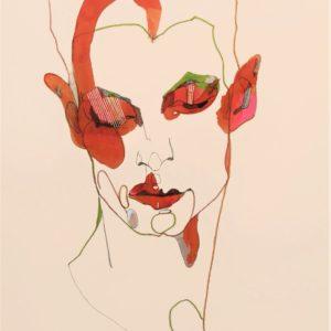 Dream of a lobster 2021 feutre fin, feutre couleur et encre sur papier 41 x 32 cm