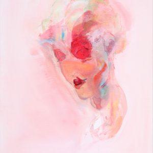 Hihi, you know me from somewhere 2021 feutre fin, feutre couleur et huile sur toile 55 x 46 cm