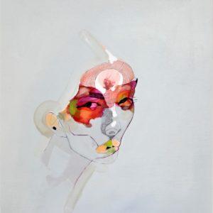 Sakura 03 2021 feutre fin, feutre couleur, encre et huile sur toile 55 x 46 cm