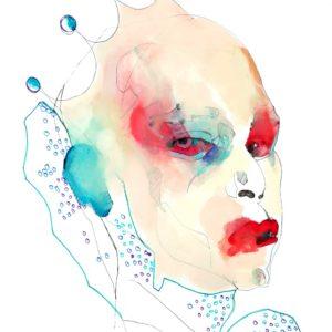 Blue drags White planes Red sticks 2021 feutre fin, feutre couleur et huile sur papier 42 x 29,7 cm